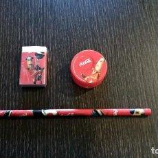 Coleccionismo de Coca-Cola y Pepsi: LÁPIZ, GOMA DE BORRAR Y SACAPUNTAS DE COCA COLA. Lote 155390446