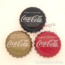 Coleccionismo de Coca-Cola y Pepsi: LOTE DE CHAPAS - COCA COLA - ZERO AZÚCAR - ZERO CAFEÍNA - CHAPA COCACOLA ESPAÑA. Lote 157230262