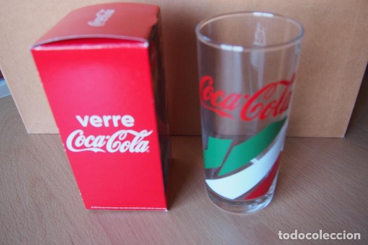 VASO COCA COLA. VERRE COCA-COLA. NUEVO CON SU CAJA ORIGINAL. DIFICIL DE CONSEGUIR ESTE MODELO. (Coleccionismo - Botellas y Bebidas - Coca-Cola y Pepsi)