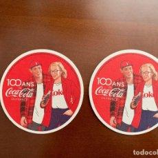 Coleccionismo de Coca-Cola y Pepsi: 2 POSAVASOS COCA COLA 100 AÑOS EN FRANCIA. Lote 165067074