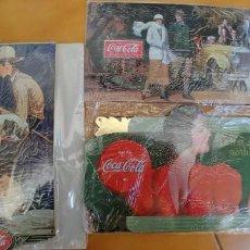 Coleccionismo de Coca-Cola y Pepsi: CARTEL PUBLICITARIO DE COCA-COLA 3 PLACAS DE CHAPA MEDIDAS-32 X 17 Y 32 X 15-PRECINTADAS-REPLICAS. Lote 167977320