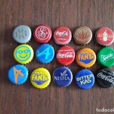 Coleccionismo de Coca-Cola y Pepsi: LOTE DE 15 CHAPAS DE REFRESCOS, COCA COLA, AQUARIUS, FANTA, SPRITE, LACCAO, NESTEA.... Lote 170887620