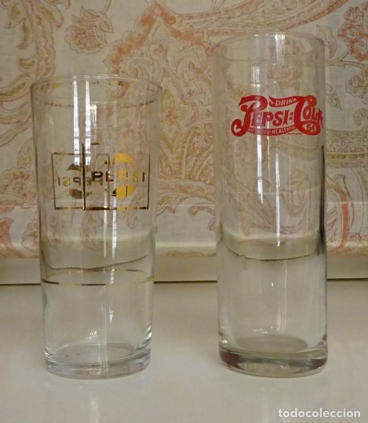 DOS VASOS LARGOS CON PUBLICIDAD PEPSI PEPSICOLA DRINK PEPSI COLA. ALTURA 16,5 Y 14,5 CM (Coleccionismo - Botellas y Bebidas - Coca-Cola y Pepsi)
