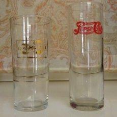 Coleccionismo de Coca-Cola y Pepsi: DOS VASOS LARGOS CON PUBLICIDAD PEPSI PEPSICOLA DRINK PEPSI COLA. ALTURA 16,5 Y 14,5 CM. Lote 172065092