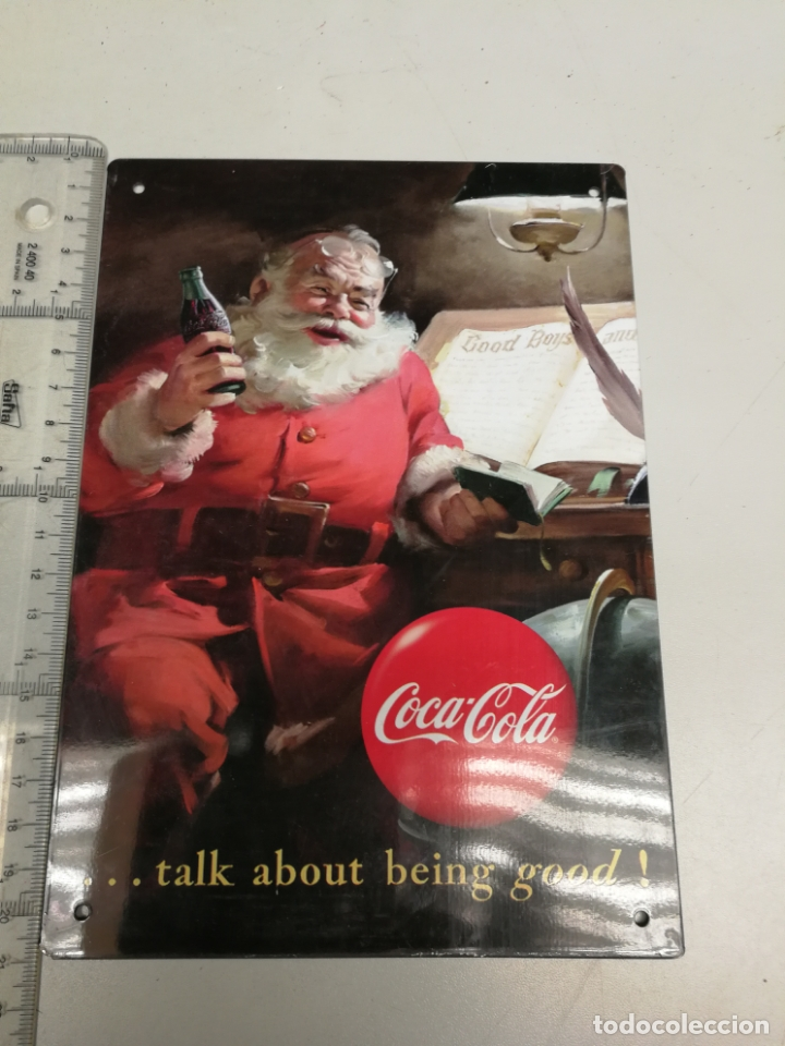 ANTIGUO CARTEL DE CHAPA LETRERO PUBLICIDAD COCA COLA VINTAGE AÑOS 90 (Coleccionismo - Botellas y Bebidas - Coca-Cola y Pepsi)