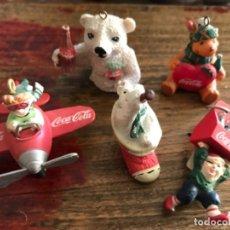 Coleccionismo de Coca-Cola y Pepsi: LOTE COCA-COLA 5 ADORNOS ÁRBOL NAVIDAD. Lote 175275547