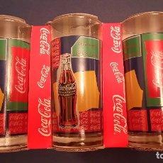 Coleccionismo de Coca-Cola y Pepsi: LOTE 3 VASOS COCA COLA EN EL BLISTER/CAJA/EXPOSITOR ORIGINAL NUEVOS 1998. Lote 176134659