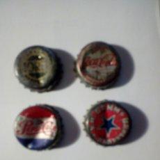 Coleccionismo de Coca-Cola y Pepsi: LOTE DE 4 VIEJ TAPONES CORONA CERVEZ MORITZ Y DAMM - PEPSICOLA Y COCACOLA PARTE POSTERIOR DE CORCHO. Lote 178078304
