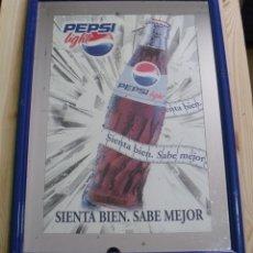 Coleccionismo de Coca-Cola y Pepsi: CUADRO ESPEJO PROMOCIONAL REFRESCO PEPSI LIGHT - SIENTA BIEN SABE MEJOR - 54X40 CM. Lote 178286797