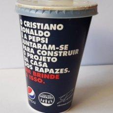 Coleccionismo de Coca-Cola y Pepsi: VASO EN CARTON PEPSI CRISTIANO RONALDO AUTOGRAFO. Lote 178674277