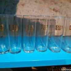 Coleccionismo de Coca-Cola y Pepsi: LOTE DE 6 VASOS TUBO PEPSI LOGO DORADO. Lote 179182545