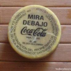 Collezionismo di Coca-Cola e Pepsi: TAPÓN DE ROSCA PLÁSTICO COCA COLA AMARILLO, MIRA DEBAJO, VALENCIA. Lote 180174727