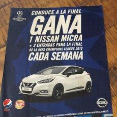 Coleccionismo de Coca-Cola y Pepsi: PEPSI MAX - LAYS - UEFA CHAMPIONS LEAGUE PÓSTER PUBLICIDAD CONDUCE A LA FINAL .. Lote 182572476