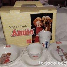 Coleccionismo de Coca-Cola y Pepsi: VAJILLA INFANTIL COMPLETA DE LA PELÍCULA ANNIE Y COCA COLA, PONTESA, 1982. Lote 182759595