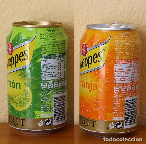 Coleccionismo de Coca-Cola y Pepsi: LOTE 2 LATA SCHWEPPES SPIRIT NARANJA LIMON. 33CL. CAN BOTE - Foto 2 - 183993108