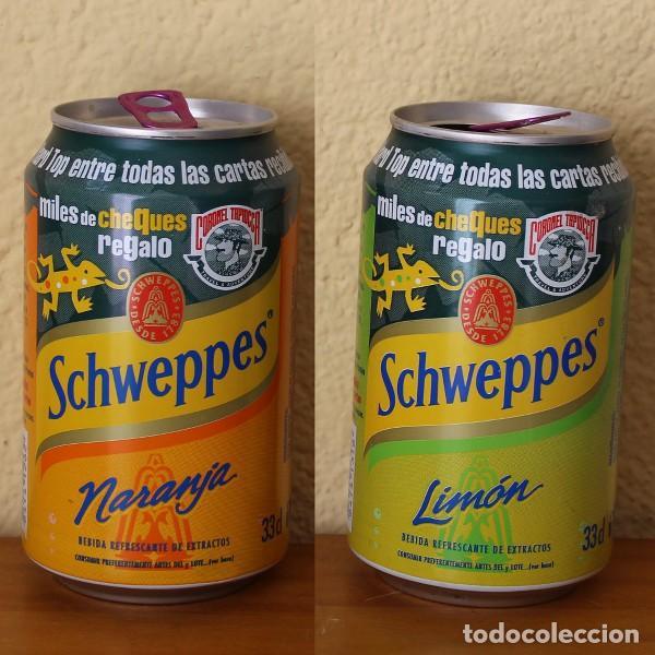 LOTE 2 LATA SCHWEPPES NARANJA LIMON PROMO CORONEL TAPIOCCA. 33CL. CAN BOTE (Coleccionismo - Botellas y Bebidas - Coca-Cola y Pepsi)