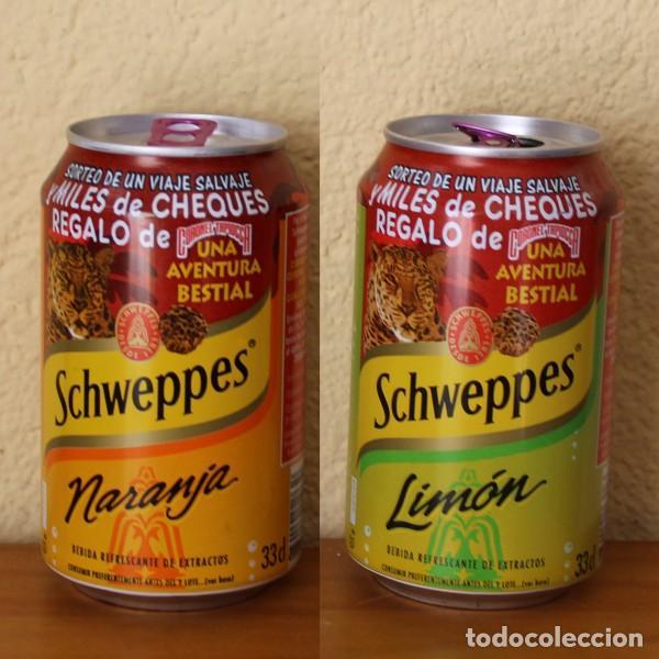 LOTE 2 LATA SCHWEPPES NARANJA LIMON PROMO CORONEL TAPIOCCA BESTIAL. 33CL. CAN BOTE (Coleccionismo - Botellas y Bebidas - Coca-Cola y Pepsi)