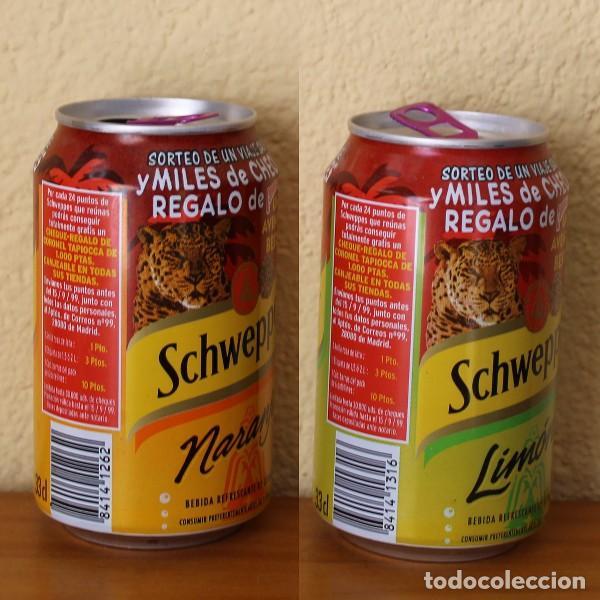 Coleccionismo de Coca-Cola y Pepsi: LOTE 2 LATA SCHWEPPES NARANJA LIMON PROMO CORONEL TAPIOCCA BESTIAL. 33CL. CAN BOTE - Foto 2 - 183993328