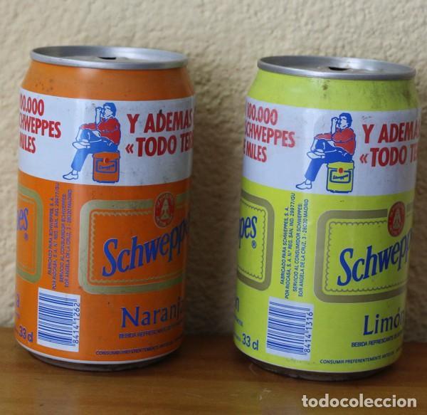 Coleccionismo de Coca-Cola y Pepsi: LOTE 2 LATAS SCHWEPPES NARANJA LIMON PROMO TODO TERRENO. 33CL. CAN BOTE - Foto 2 - 184109126