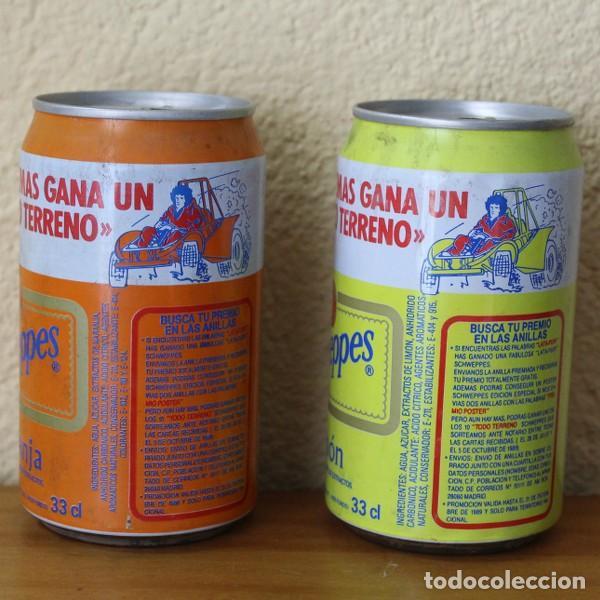 LOTE 2 LATAS SCHWEPPES NARANJA LIMON PROMO TODO TERRENO. 33CL. CAN BOTE (Coleccionismo - Botellas y Bebidas - Coca-Cola y Pepsi)