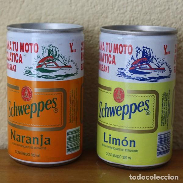 LOTE 2 LATAS SCHWEPPES NARANJA LIMON PROMO MOTO ACUATICA KAWASAKI. 32CL. CAN BOTE (Coleccionismo - Botellas y Bebidas - Coca-Cola y Pepsi)