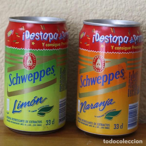LOTE 2 LATAS SCHWEPPES NARANJA LIMON PROMO DESTAPA LA PRIMAVERA. 33CL. CAN BOTE (Coleccionismo - Botellas y Bebidas - Coca-Cola y Pepsi)