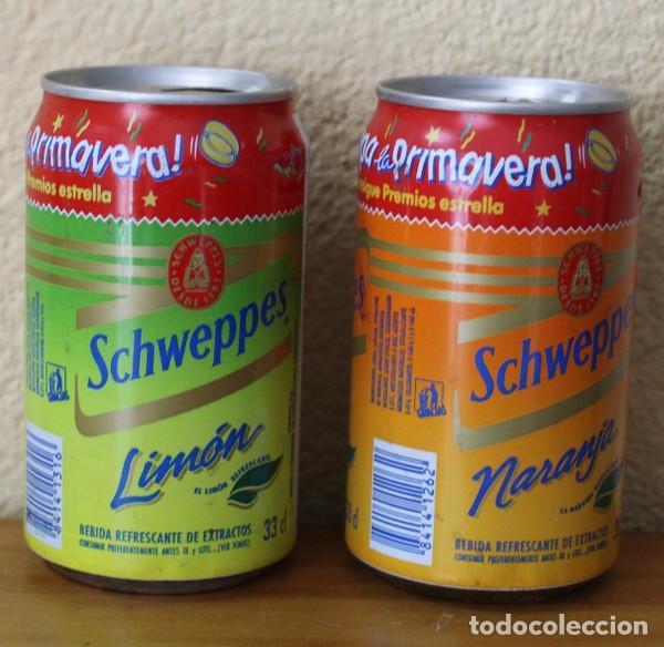 Coleccionismo de Coca-Cola y Pepsi: LOTE 2 LATAS SCHWEPPES NARANJA LIMON PROMO DESTAPA LA PRIMAVERA. 33CL. CAN BOTE - Foto 2 - 184109440