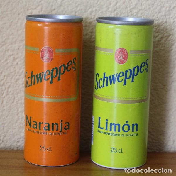 LOTE 2 LATAS SCHWEPPES NARANJA LIMON. 25CL. CAN BOTE TUBO (Coleccionismo - Botellas y Bebidas - Coca-Cola y Pepsi)