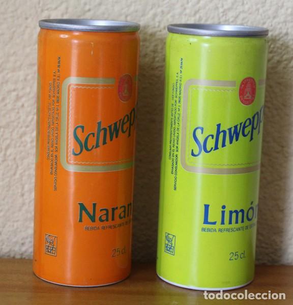 Coleccionismo de Coca-Cola y Pepsi: LOTE 2 LATAS SCHWEPPES NARANJA LIMON. 25CL. CAN BOTE TUBO - Foto 2 - 184109606