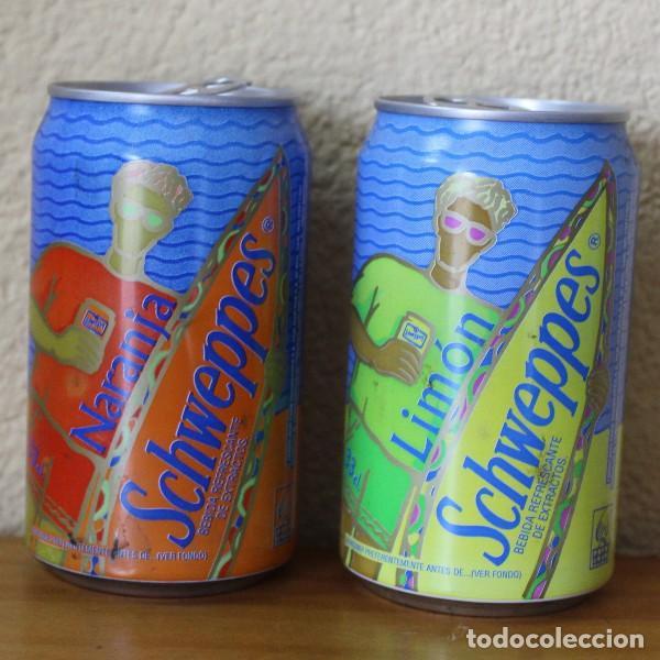 LOTE 2 LATAS SCHWEPPES NARANJA LIMON TABLA SURF. 33CL. CAN BOTE (Coleccionismo - Botellas y Bebidas - Coca-Cola y Pepsi)