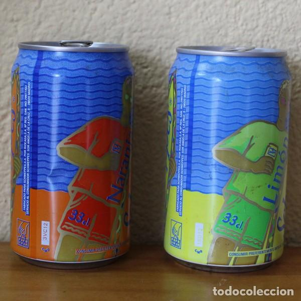 Coleccionismo de Coca-Cola y Pepsi: LOTE 2 LATAS SCHWEPPES NARANJA LIMON TABLA SURF. 33CL. CAN BOTE - Foto 2 - 184110317