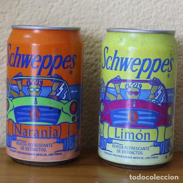 LOTE 2 LATAS SCHWEPPES NARANJA LIMON COCHE PLAYA. 33CL. CAN BOTE (Coleccionismo - Botellas y Bebidas - Coca-Cola y Pepsi)