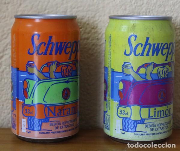 Coleccionismo de Coca-Cola y Pepsi: LOTE 2 LATAS SCHWEPPES NARANJA LIMON COCHE PLAYA. 33CL. CAN BOTE - Foto 2 - 184110350