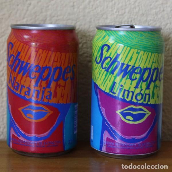 LOTE 2 LATAS SCHWEPPES NARANJA LIMON BOCA SOMBRERO. 33CL. CAN BOTE (Coleccionismo - Botellas y Bebidas - Coca-Cola y Pepsi)