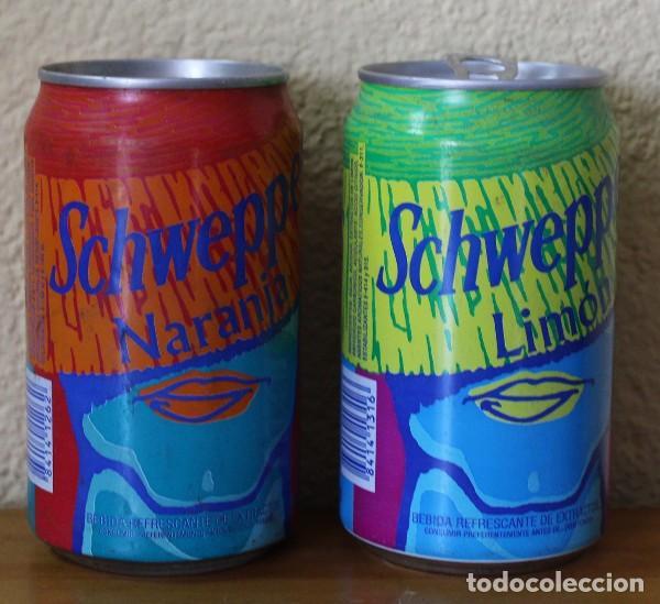 Coleccionismo de Coca-Cola y Pepsi: LOTE 2 LATAS SCHWEPPES NARANJA LIMON BOCA SOMBRERO. 33CL. CAN BOTE - Foto 2 - 184110433