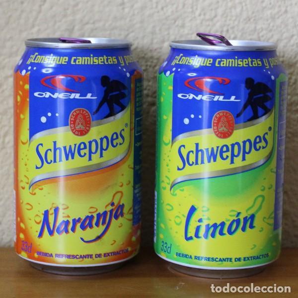 LOTE 2 LATAS SCHWEPPES NARANJA LIMON PROMO O'NEILL. 33CL. CAN BOTE (Coleccionismo - Botellas y Bebidas - Coca-Cola y Pepsi)