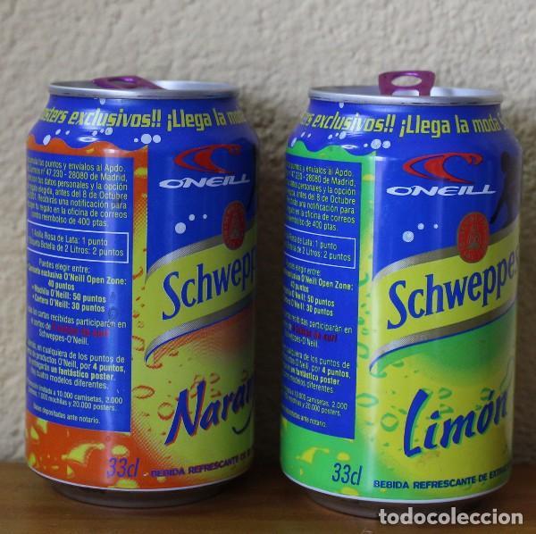 Coleccionismo de Coca-Cola y Pepsi: LOTE 2 LATAS SCHWEPPES NARANJA LIMON PROMO ONEILL. 33CL. CAN BOTE - Foto 2 - 184110528