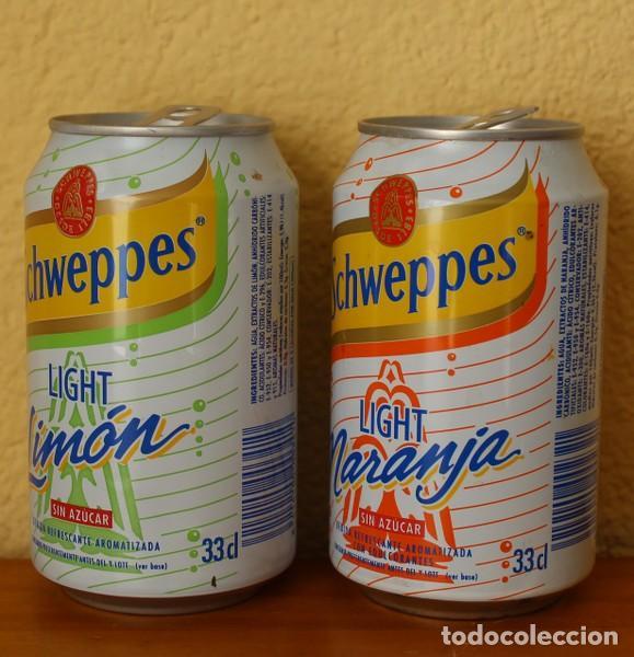 Coleccionismo de Coca-Cola y Pepsi: LOTE 2 LATAS SCHWEPPES NARANJA LIMON LIGHT SIN AZUCAR. 33CL. CAN BOTE - Foto 2 - 184326747