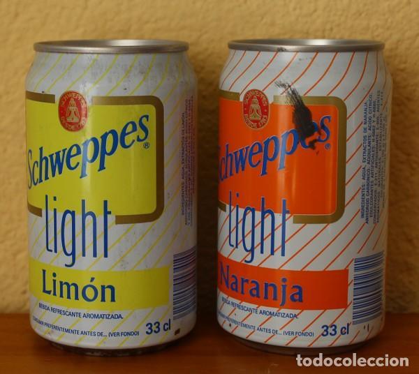 Coleccionismo de Coca-Cola y Pepsi: LOTE 2 LATAS SCHWEPPES NARANJA LIMON LIGHT. 33CL. CAN BOTE - Foto 2 - 184326805