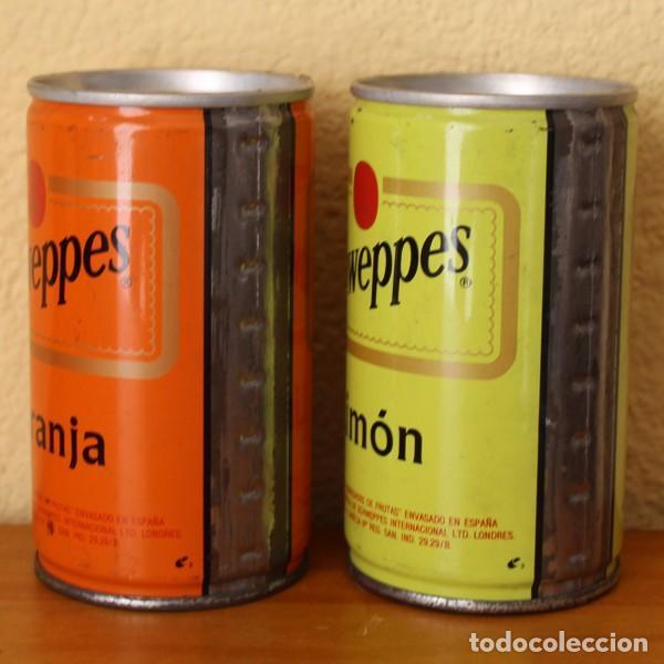 LOTE 2 LATAS SCHWEPPES NARANJA LIMON ANTIGUAS LATERAL SOLDADO. 33CL. CAN BOTE (Coleccionismo - Botellas y Bebidas - Coca-Cola y Pepsi)