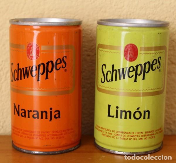 Coleccionismo de Coca-Cola y Pepsi: LOTE 2 LATAS SCHWEPPES NARANJA LIMON ANTIGUAS LATERAL SOLDADO. 33CL. CAN BOTE - Foto 2 - 184326871