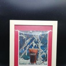 Coleccionismo de Coca-Cola y Pepsi: CARTEL PUBLICITARIO COCA COLA ENMARCADO CON CRISTAL PERIODO 1950/1960 34X25 CM BUEN ESTADO. Lote 185735746