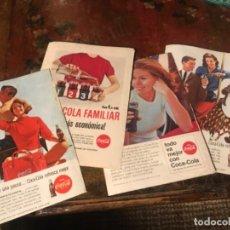 Coleccionismo de Coca-Cola y Pepsi: LOTE 4 ANUNCIOS COCA-COLA ANTIGUOS. AÑOS 1960S. Lote 185738785