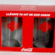 Coleccionismo de Coca-Cola y Pepsi: 2 VASOS DE COCA COLA NUEVOS SIN USAR COCACOLA KIT VASO. Lote 187154777