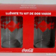 Coleccionismo de Coca-Cola y Pepsi: 2 VASOS DE COCA COLA NUEVOS SIN USAR COCACOLA KIT VASO. Lote 187154932