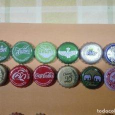 Coleccionismo de Coca-Cola y Pepsi: 12 CORONAS DISTINTAS DE REFRESCO CERVEZA COCA COLA FANTA TAILANDIA TAILANDES TAILANDESA PLACAS CHAPA. Lote 188438301