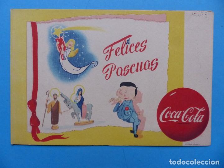 COCA-COLA - ANTIGUA FELICITACION NAVIDAD, COMPAÑIA LEVANTINA DE BEBIDAS GASEOSAS S.A. - AÑOS 1950-60 (Coleccionismo - Botellas y Bebidas - Coca-Cola y Pepsi)