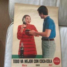 Coleccionismo de Coca-Cola y Pepsi: 1969. CALENDARIO COCA-COLA DE PARED. MARZO-ABRIL.. Lote 193822950