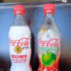 Coleccionismo de Coca-Cola y Pepsi: 2 BOTELLAS PLÁSTICO VACÍAS EDICIÓN LIMITADA JAPÓN COCA COLA CLEAR (TRANSPARENTE) Y PLUS (CON FIBRA). Lote 195236808