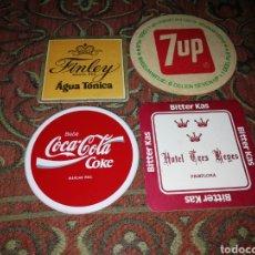 Coleccionismo de Coca-Cola y Pepsi: 4 POSAVASOS ANTIGUOS DE COCACOLA, FINLEY, 7UP Y BITTER KAS.. Lote 197109816